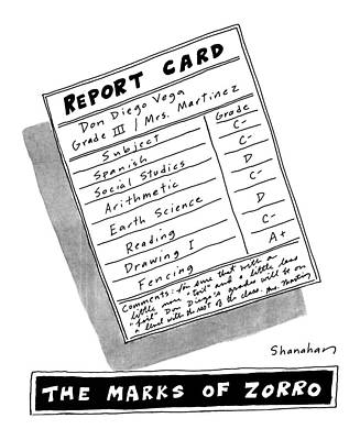 Book Mark Drawing - The Marks Of Zorro by Danny Shanahan