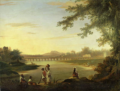 Previously Painting - The Marmalong Bridge, With A Sepoy And Natives by Litz Collection