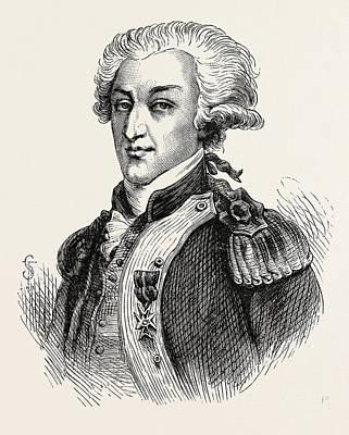 The Marquis De Lafayette Led Troops Alongside George Print by American School