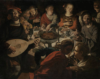 Candle Lit Drawing - The Marriage At Cana, Jan Cornelisz Vermeyen by Quint Lox