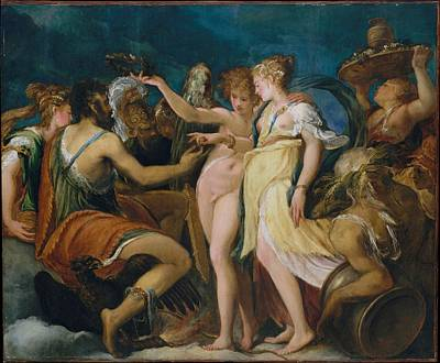 Masonite Painting - The Marriage Of Cupid And Psyche by Andrea Schiavone