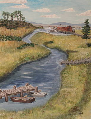 Art Print featuring the painting The Marshes by Hilda and Jose Garrancho