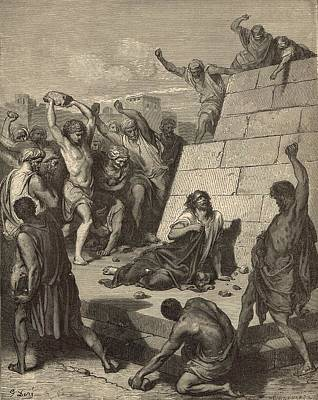 The Martyrdom Of St. Stephen Art Print by Antique Engravings