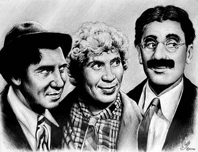 Movie Art Drawing - The Marx Brothers by Andrew Read