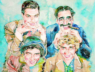 Marx Painting - The Marx Brothers / Watercolor Painting by Fabrizio Cassetta