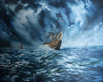 Jean Walker Painting - The Mary Rose And Fleet by Jean Walker