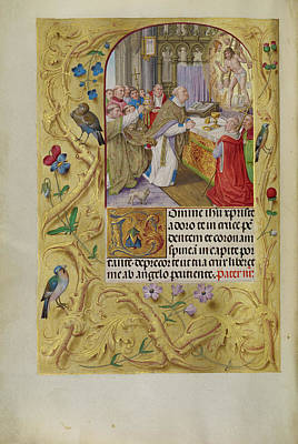 Bible Drawing - The Mass Of Saint Gregory Master Of The Lübeck Bible Bruges by Litz Collection
