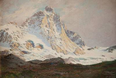 Swiss Painting - The Matterhorn, 1910 by Leonardo Roda