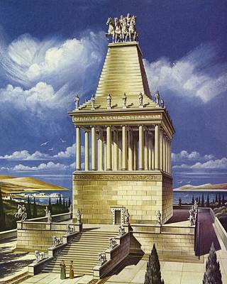 The Mausoleum At Halicarnassus Colour Litho Art Print by English School
