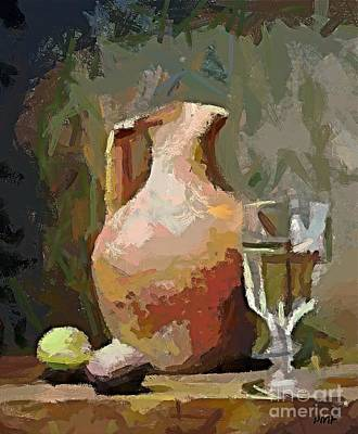 Glass Of Wine Painting - The Mayolka And Glass Of White by Dragica  Micki Fortuna
