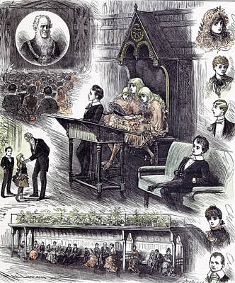 Joyful Drawing - The Mayors  Juvenile Ball At The Manchester Townhall 1882 by English School
