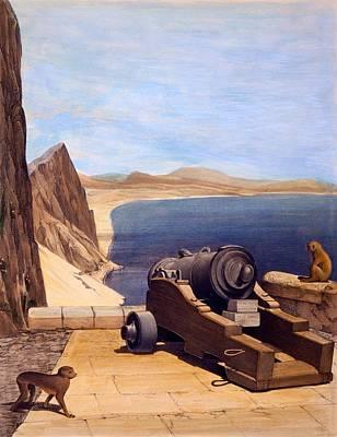 Monkeys Drawing - The Mediterranean Battery, Gibraltar by Captain J. M. Carter