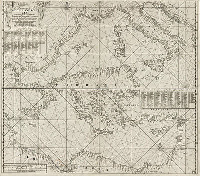 Hermes Wall Art - Drawing - The Mediterranean Sea Map With Over The Western by Anonymous And Johannes Van Keulen (i)