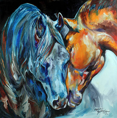 Abstract Equine Painting - The Meeting by Marcia Baldwin