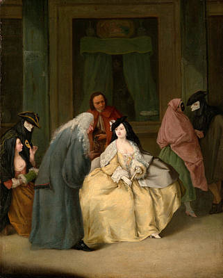 Pietro Longhi Painting - The Meeting by Pietro Longhi