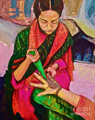 Mendhi Painting - The Mendhi Artist by Linda Zolten Wood