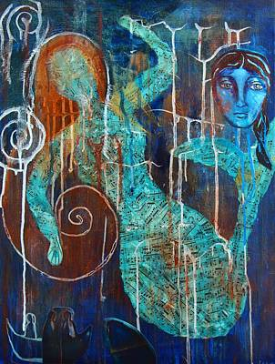 Ancestor Art Mixed Media - The Mermaid And The Whale by Jeanie Anthony