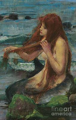 Wistful Painting - The Mermaid by John William Waterhouse