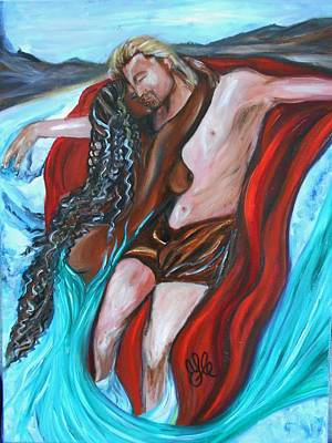 Painting - The Mermaid - Love Without Boundaries- Interracial Lovers Series by Yesi Casanova