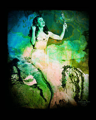 Digital Art - The Mermaid Mirror by Absinthe Art By Michelle LeAnn Scott