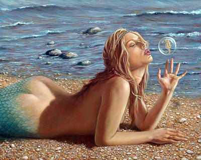 Pebble Beach Painting - The Mermaids Friend by John Silver