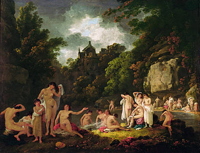 The Mermaids Haunt, 1804 Oil On Panel Art Print by Julius Caesar Ibbetson