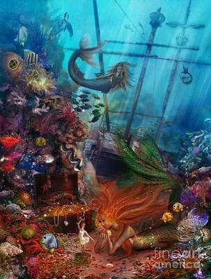 Mermaid Digital Art - The Mermaids Treasure by Aimee Stewart