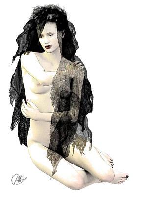 Female Nude. Nude Drawings Digital Art - The Merry Widow by Quim Abella
