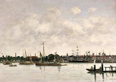 Netherlands Painting - The Meuse At Dordrecht by Eugene Louis Boudin