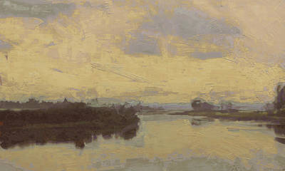 Briex Painting - The Meuse Near Itteren by Nop Briex