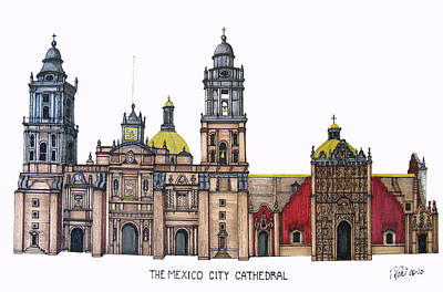 Drawing - The Mexico City Cathedral by Frederic Kohli