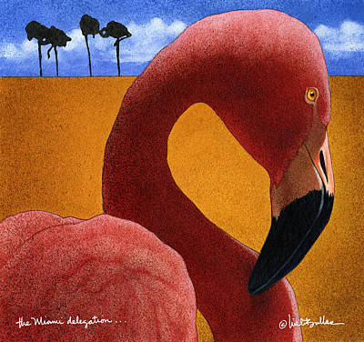 Flamingos Painting - the Miami delegation... by Will Bullas