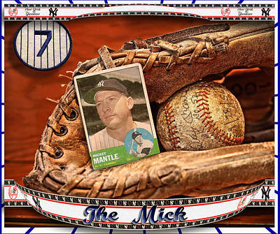 Mickey Mantle Baseball Cards Photograph - The Mick by John Anderson