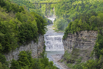 Photograph - The Middle Falls At Letchworth State Park by Jim Vallee