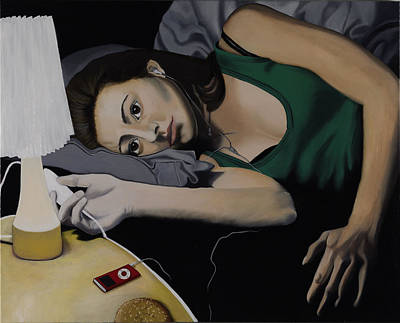 Night Lamp Painting - The Midnight Burger by Marcella Lassen