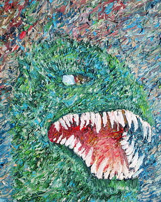 Big Teeth Painting - The Might That Came Upon The Earth To Bless - Godzilla Portrait by Fabrizio Cassetta