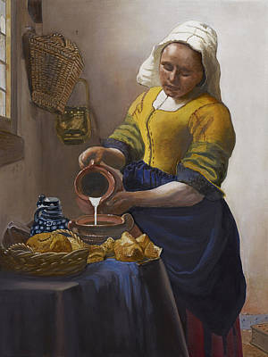 Old Pitcher Painting - The Milkmaid by Caroline  Stuhr