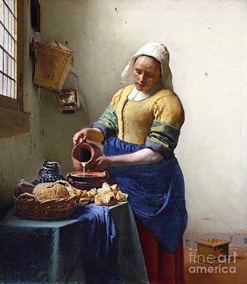 Shawl Painting - The Milkmaid by Jan Vermeer