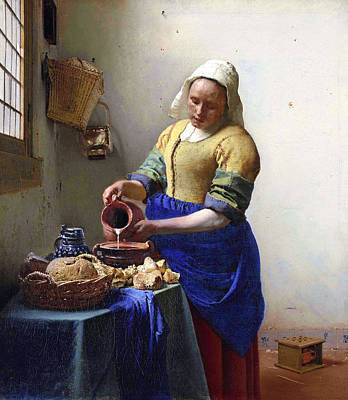 Wall Art - Painting - The Milkmaid Johannes Vermeer by Johannes Vermeer