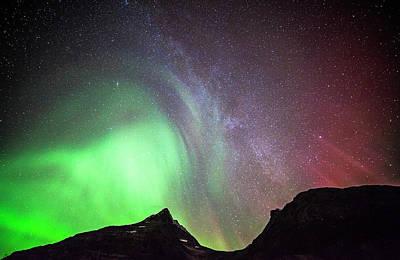 Photograph - The Milky Way And Aurora Borealis by Jordanwhipps1987