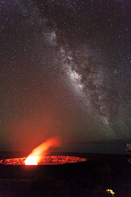 Burning Night Time Sky Photograph - The Milky Way And Halema'uma'u by Nature  Photographer