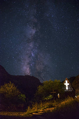 The Milky Way To The Chapel Print by Aaron Bedell