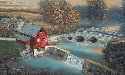 Grist Mill Painting - The Mill Pond by James Townsend