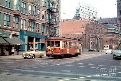 Comedian Drawings - The Milwaukee Electric Railway Trolley 836 in 1956 by Wernher Krutein