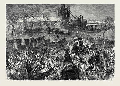 The Miners Strike In Durham Great Mass Meeting At Twizell Art Print by English School