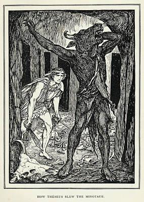 The Minotaur, The Monster Kept  By King Art Print