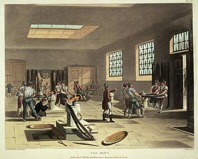 Microcosm Photograph - The Mint Workers Making Coins by British Library