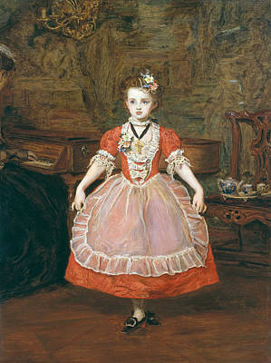 Girl Playing Piano Painting - The Minuet  by Sir John Everett Millais