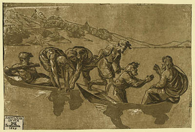 Miraculous Drawing - The Miraculous Draught Of Fishes, Between 1500 And 1530 by Carpi, Ugo Da (c.1480-1520/32), Italian