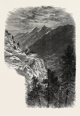 Vale Drawing - The Mischabelhorner, From The Zmutt Valley by Swiss School